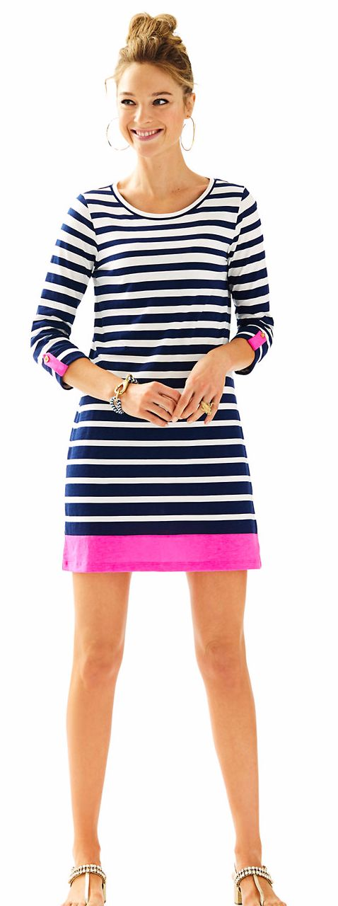 A-Line Long Sleeve Shirt Dress in Navy Stripe and Pink Accents