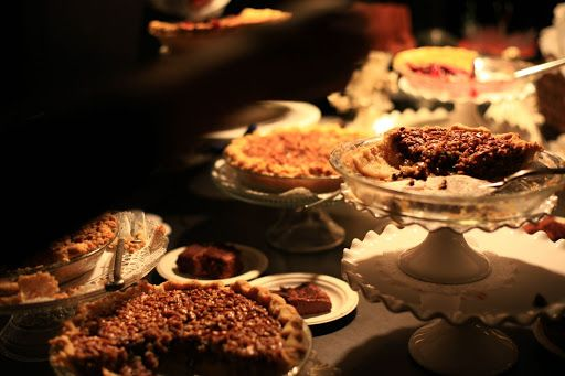 In lieu of traditional vanilla wedding cake, our bourbon pecan chocolate pie was a major hit.