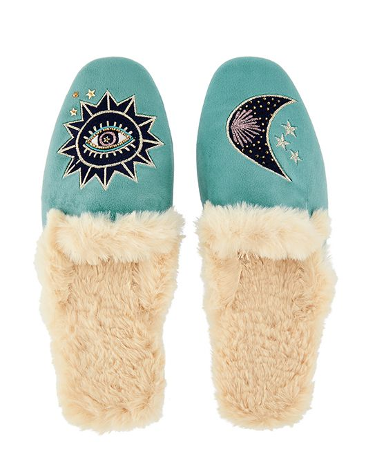 Women/'s//Ladies Footwear Slogan Open Back Mule Slippers With Textile Coated Sole