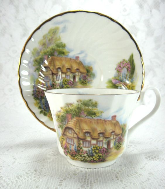 Teacup And Saucer English Thatched Cottage Bone China Vintage Anne Hathaway
