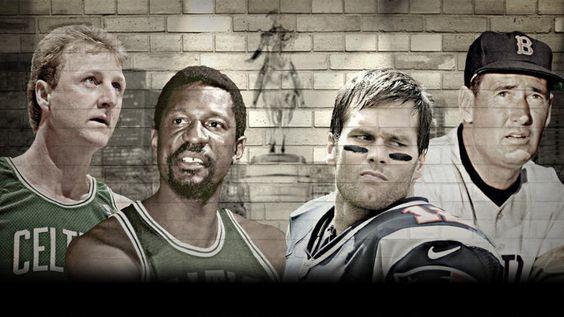 boston athletes | Bird, Russell, Brady and Williams. Yahoo! Sports photo illustration.