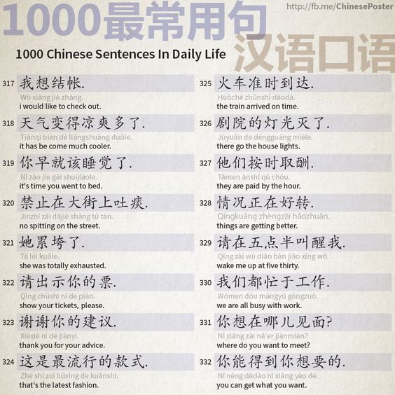 1000 Chinese Sentences In Daily Life Part 21