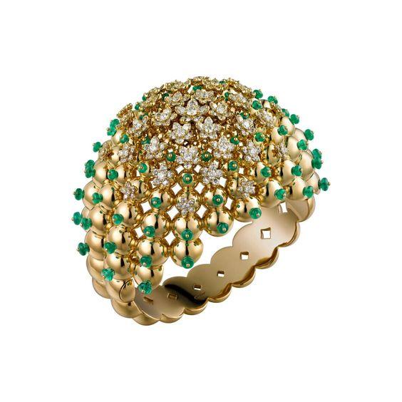 Cactus de Cartier bracelet in 18-carat yellow gold set with emeralds and 204…
