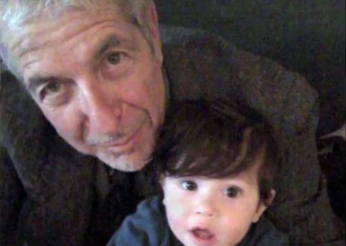 Leonard Cohen and his grandson.: