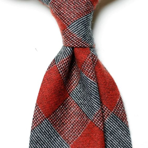 New Men's Difou Handmade Wool-Cotton Neck Ties in Gingham Check / 2Color #DIFOU #NeckTie