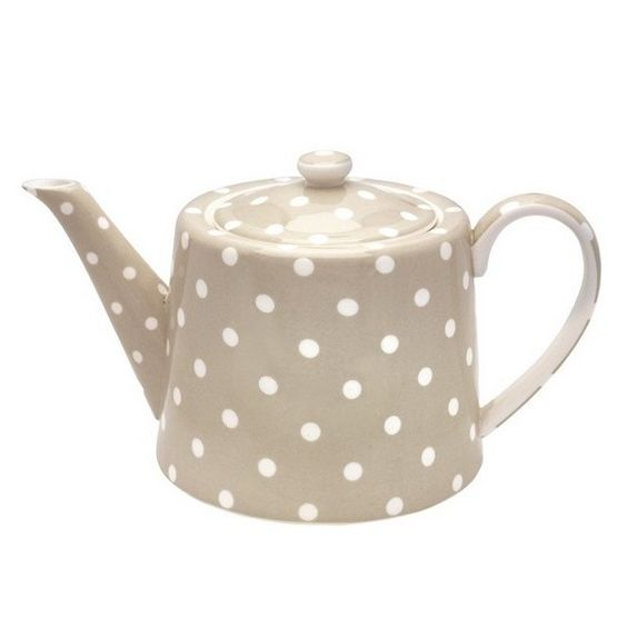 beige and white dotted porcelain teapot (Tetera Naomi Beige, via myhomestyle.es)