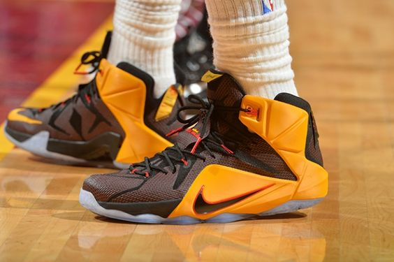 LeBron James #23 of the Cleveland Cavaliers showcases his sneakers against the Atlanta Hawks at Quicken Loans Arena During Game Three of the Eastern Conference Finals during the 2015 NBA Playoffs on May 24, 2015 in Cleveland, Ohio.