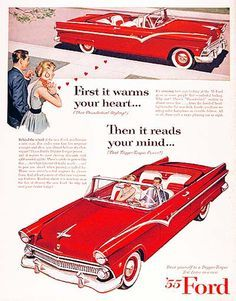 Ford Fairlaine Sunliner 1955 Reads Your Mind Red - Mad Men Art: The 1891-1970 Vintage Advertisement Art Collection