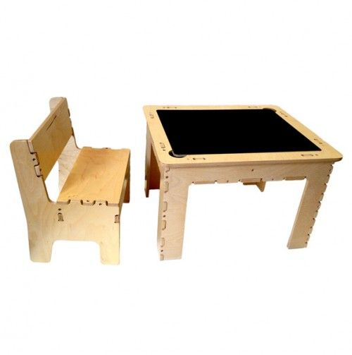 Flip Top Dry Erase and Chalk Table with 1 Bench - Natural Wood - Anatex Favorite Toys