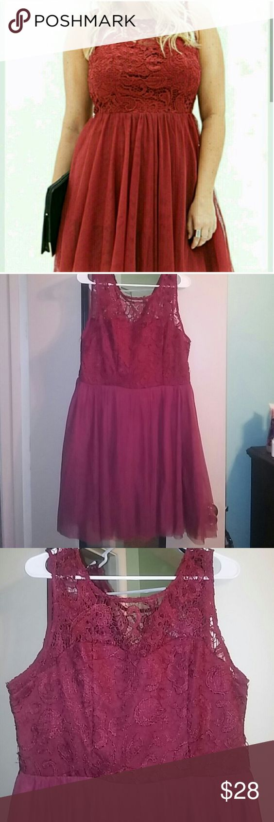 Forever 21 Rust Red colored lace dress Forever 21 Rusty Red color lace/sheer dress. Adorable baby doll design and a V back with a gold zipper. Like new condition!! There is not much stretch to this dress and I would say it runs small in the bust area. I am a 45 inch bust and wear a 38/40 D/DD and it was too tight to zip. Has a side zipper. I would say this would fit a size 36 or lower bust and maybe a Size 12. Size 1X but F21 is smaller running and I would say more Large or XL.  Ask if any…