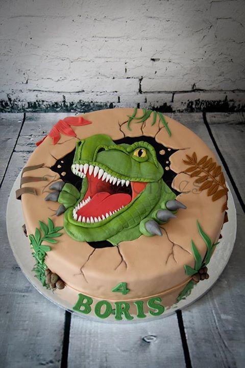 Torta de dinosaurio rex Ideal para una fiesta dinosaurios