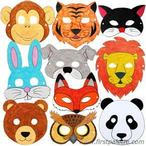 Color in your favorite animal to make one of these Halloween masks - free printable!