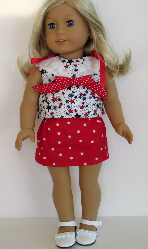 American Girl Doll Clothes  Patriotic Top by EverythingNice4Dolls, $21.99