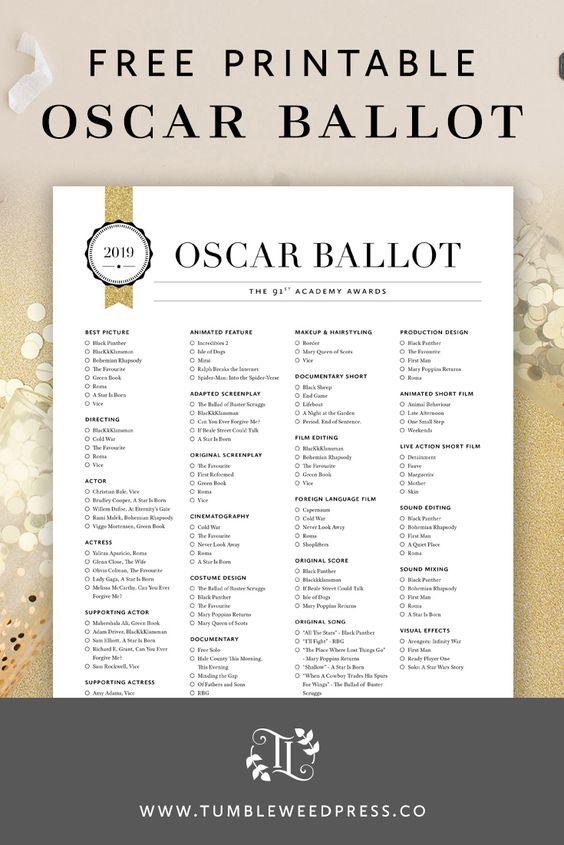 2019 Oscar Ballot Free Printable by TumbleweedPress.Co