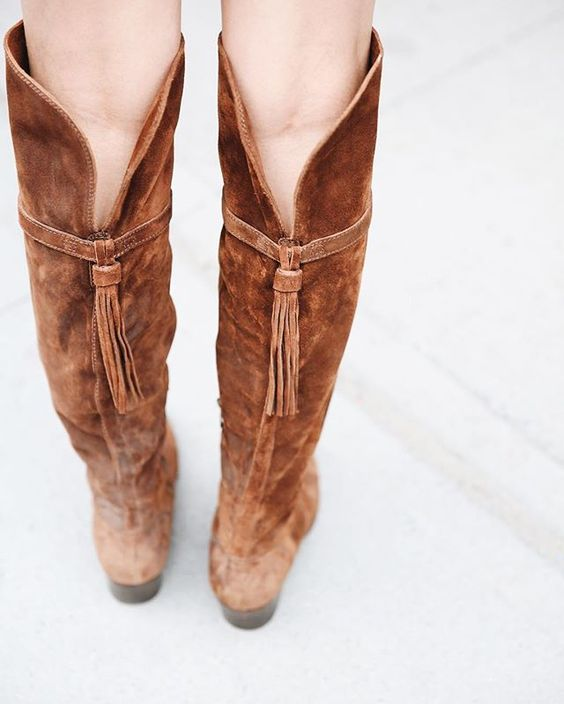 Perfect with skinny jeans and mini skirts; The Frye Company Clara Tassel OTK…