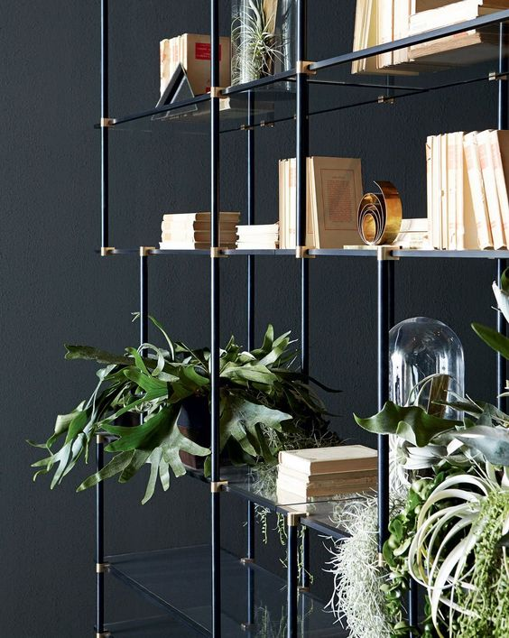 Drizzle - Shelving system with anodised aluminium structure. Set of vertical lacquered supports. 10mm extralight tempered glass shelves. Designed by Luca Nichetto for Gallotti&Radice.