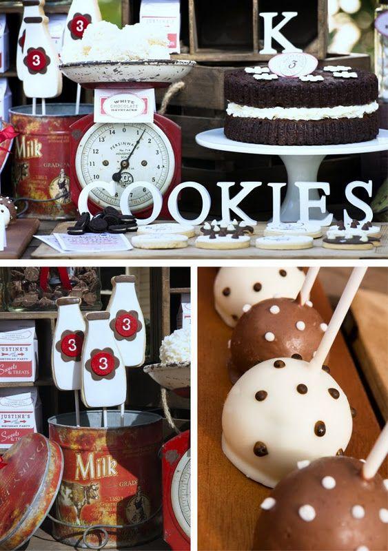Vintage milk & cookies birthday party ideas via www.karaspartyide...