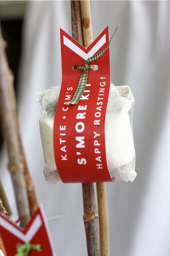 marshmallow roasting party favours-cute wrap, tied onto the sticks: Party Favors, Mores Favor, Wedding Favors, Gift Ideas, Wedding Ideas, Smores Kit, Camping Party, Party Ideas, Fire Pit
