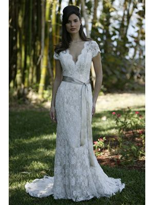 Sheath / Column V-Neck Scalloped-Edge Cap Sleeve Non-Strapless Satin Wedding Dress $319