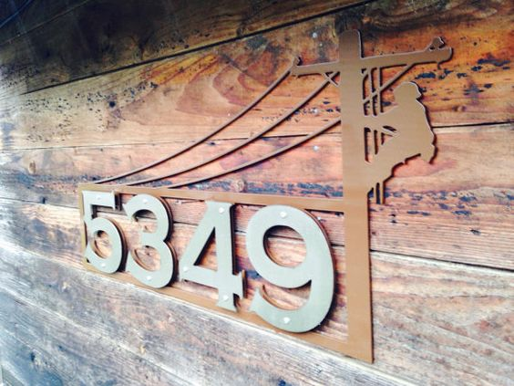 Lineman Address Sign by OregonTorchCraft on Etsy