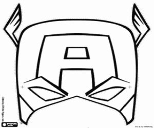 Captain america mask coloring page to use for buttercream for Avengers mask template