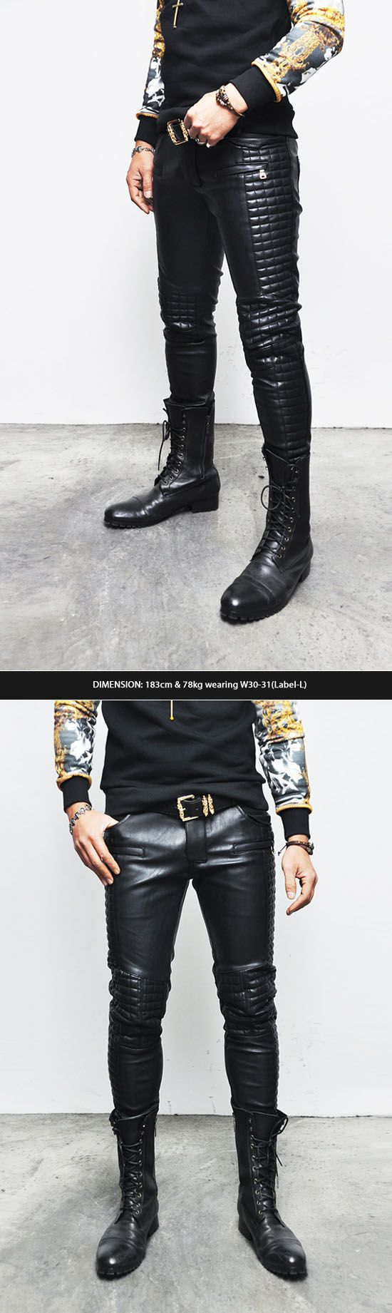 Bottoms :: Pants :: F/W Homme Full Leather Quilt Biker Skinny-Pants 103 - Mens Fashion Clothing For An Attractive Guy Look