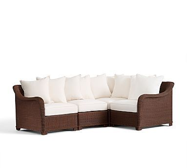 Palmetto All-Weather Wicker Sectional Set - Honey #potterybarn This is exactly what I want for my deck out back... now if I can find it somewhere cheaper. The price tag on this one is ridiculous.