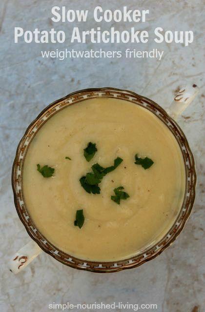 Simple and DELICIOUS Slow Cooker Potato Artichoke Soup. Creamy and ...