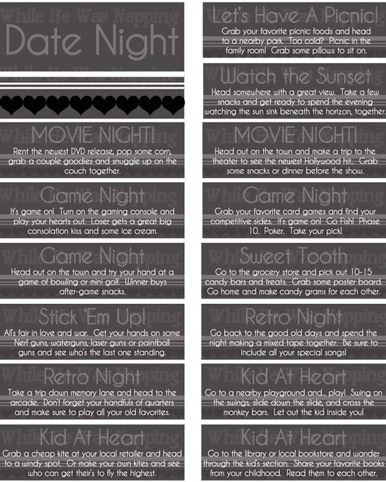 Free printable date ideas for night jar gift