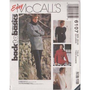 Misses Tunic - For Stretch Knits Only McCall's Sewing Pattern 6107 (Size:22-24)