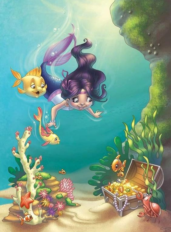 Mermaid and fish cartoons illustration via www.Facebook.com/gleamofdreams