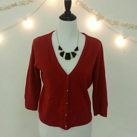 Mossimo Red Cardigan Mossimo red 3/4 length sleeve v- neck button up cardigan. Very cute and comfortable. Buttons have rhinestones inside red buttons. Adds a nice detail in excellent condition. Please ask questions all sales are final. Mossimo Supply Co. Sweaters Cardigans