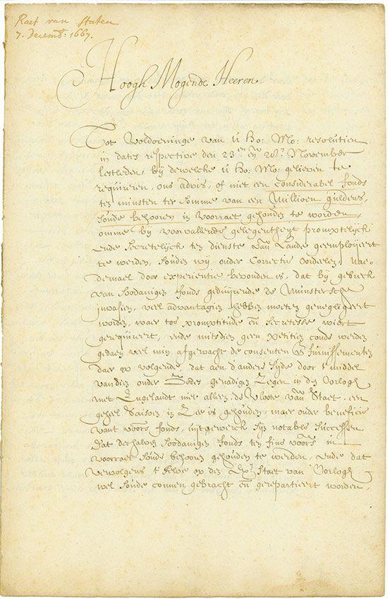 """Staten Generaal 07.12.1667, Abschrift eines Antwortbriefes des """"Raad van State aan de Staten Generaal"""" betreffs einer Obligation über eine Million Gulden, 32 x 20,6 cm, schwarz, beige, handschriftlich auf Büttenpapier, 8 Seiten."""