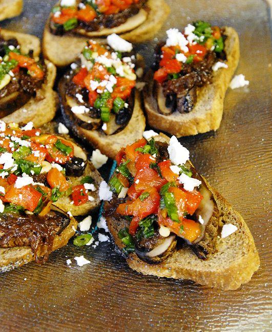 Portabella mushroom, red pepper and caramelized onion bruschetta - YUM!