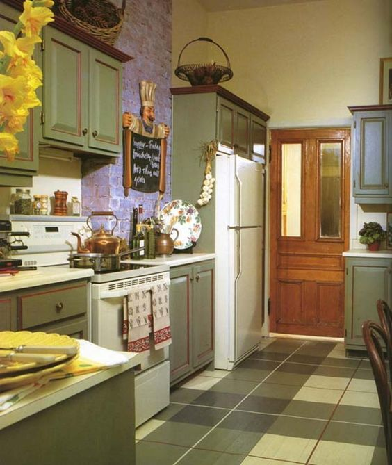 Milk Painted Kitchen Cabinets -