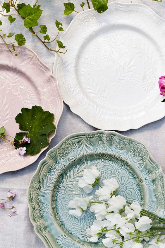 sthal ceramics embossed plates | dinnerware + tableware