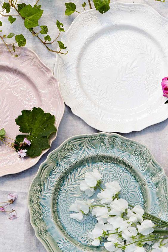 sthal ceramics embossed plates | dinnerware + tableware