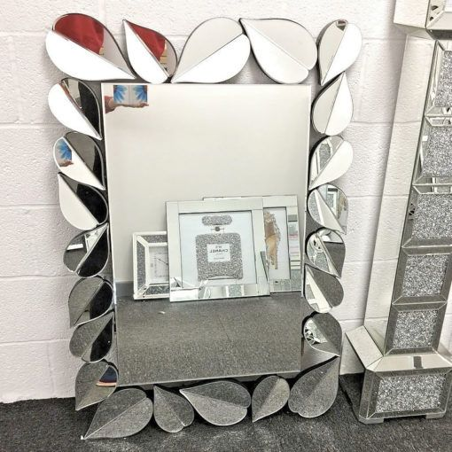 Sparkly 120cm Petal Frame Designer Large Wall Mirror Shiny Silver Picture Perfect Home Large Wall Mirror Mirror Wall Mirror