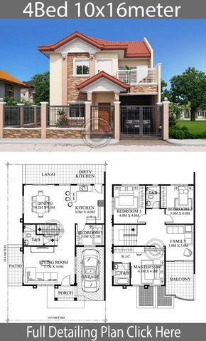 Home Design 10x16m 4 Bedrooms Home Design With Plansearch Philippines House Design House Construction Plan 2 Storey House Design