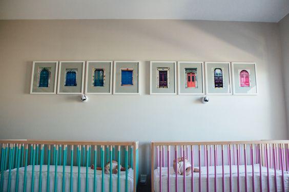 Our nursery.  DIY Ikea cribs
