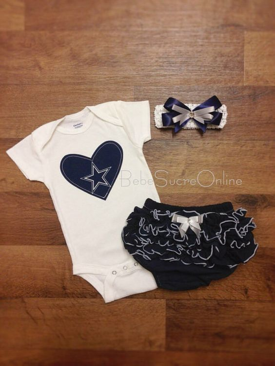 Cowboys Outfit and Headband by BebeSucreOnline on Etsy