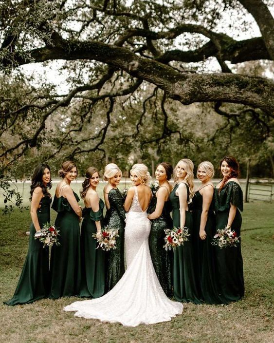 Dark Green Mismatched Bridesmaid Dresses Wedding Weddings Bridesmaids Bridesmai Emerald Bridesmaid Dresses Fall Bridesmaid Dresses Green Bridesmaid Dresses