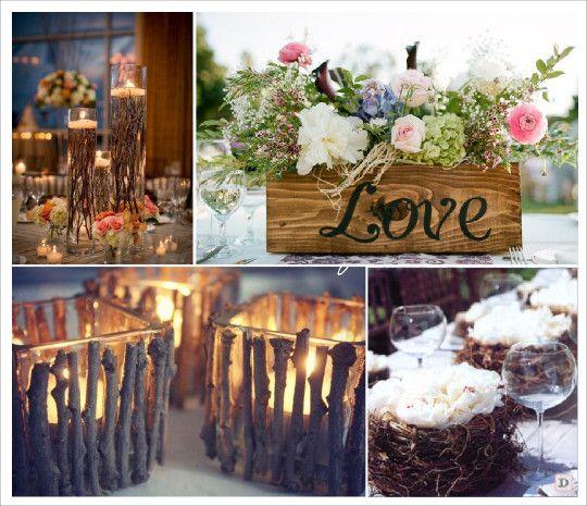 mariage rustique champ tre centre de table vase et branchage caisse en bois nid mariage recup. Black Bedroom Furniture Sets. Home Design Ideas