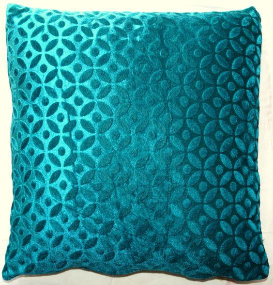 "16"" Teal Green Velvet Cushion Pillow Cover Sofa Throw Indian Ethnic Decorative | eBay"