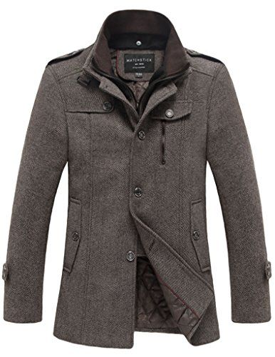 Match Mens Wool Classic Pea Coat Winter Coat(Coffee-ThickUS XS