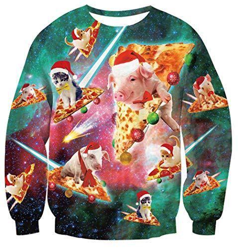 Unisex Carlton Pizza Cat Dino Christmas Jumper Novelty Funny Ugly Sweater UK