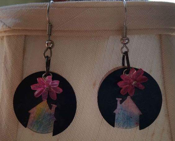 House shrink plastic earrings made by Becky Aistrup