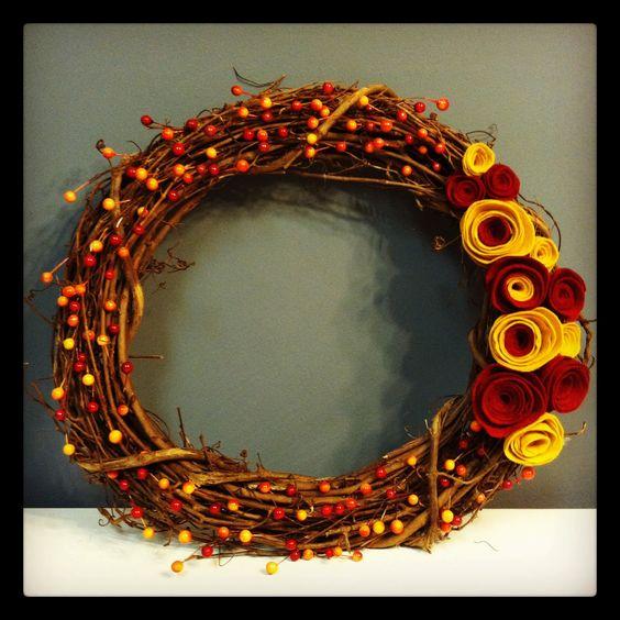 Fall wreath with felt rosettes