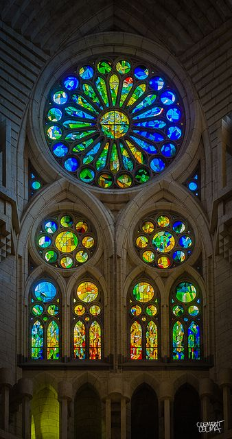 Rose Window. La Sagrada Familia. Antoni Gaudi. Barcelona, Spain. Gaudi started work on the project in 1883. Building still under construction. Estimated completion 2026.