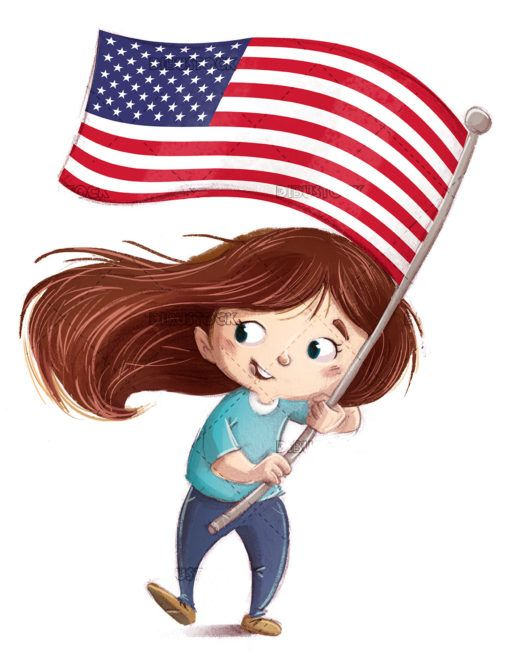 Girl With Flag Of The United States Of America In 2020 The Unit Flag United States Of America